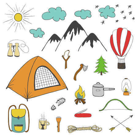 slingshot: Adventures, camping, travel hand drawn design elements, vector colored doodle sketchy set in vintage style isolated on white background