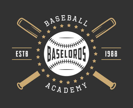 Vintage baseball icon, emblem, badge and design elements.  イラスト・ベクター素材