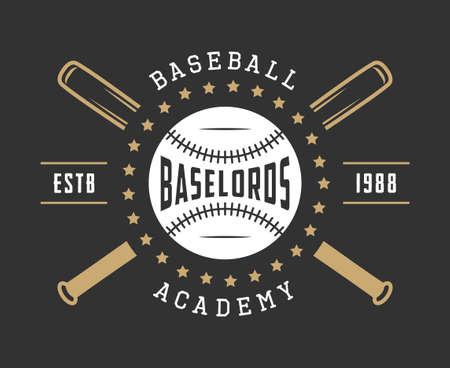 Vintage baseball icon, emblem, badge and design elements. Illustration