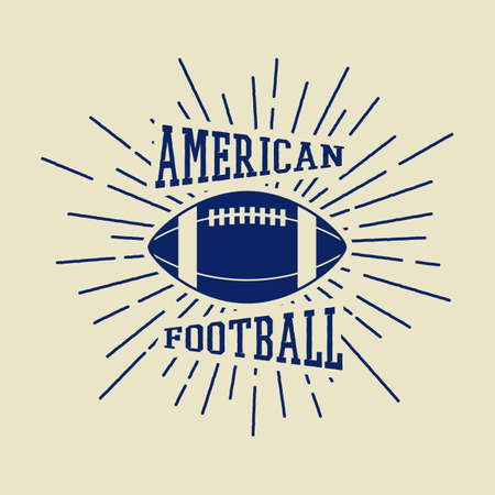 slogan: Vintage rugby and american football labels, emblems. Illustration