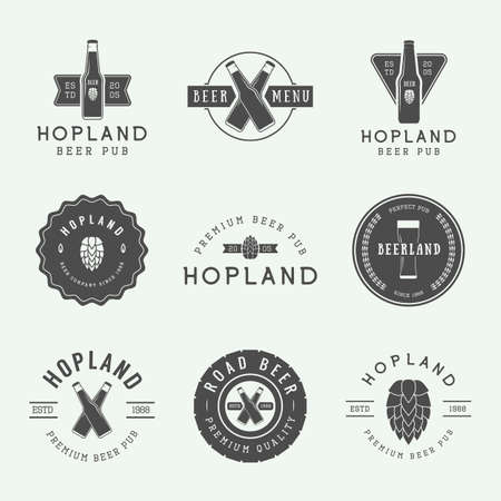 draft beer: Set of vintage beer and pub icon, labels and emblems with bottles, hops, wheat and design elements.