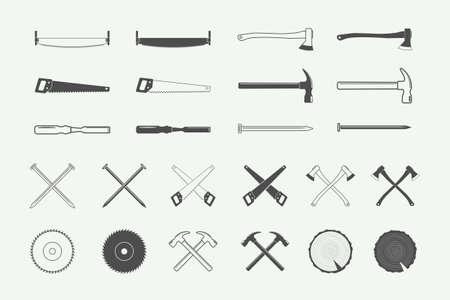 Set of vintage carpentry and mechanic labels, emblems, and design elements.