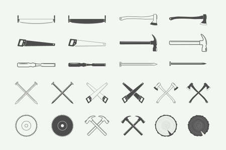 Set of vintage carpentry and mechanic labels, emblems, and design elements.