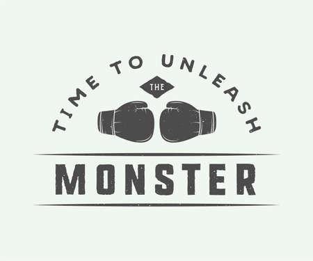 eslogan: lema de boxeo de la vendimia con la motivaci�n y la inspiraci�n. Dise�o gr�fico.