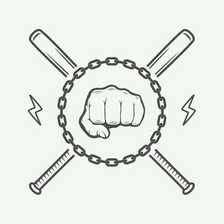 fighting arts: Vintage fighting or martial arts icon, emblem, badge, label and design elements.