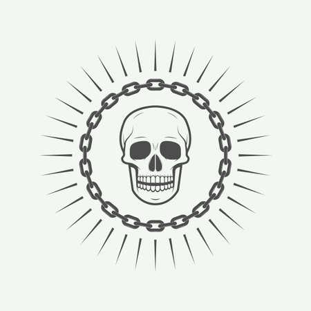 battle evil: Vintage skull label, emblem and icon Illustration