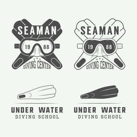 slogans: Set of diving icon, labels and slogans in vintage style.