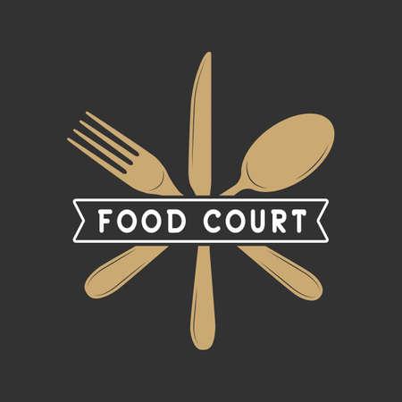 Vintage restaurante o logotipo patio de comidas, insignia y el emblema de estilo retro. Ilustración del vector Logos