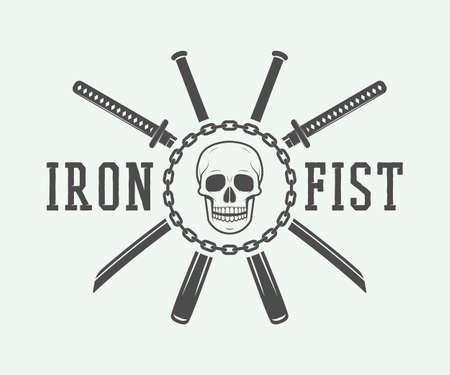 skull logo: Vintage fighting or martial arts logo, emblem, badge, label and design elements. Vector Illustration Illustration