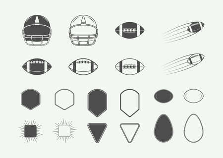 Set of vintage rugby and american football labels, emblems, logo and design elements and shapes. Vector illustration Vettoriali