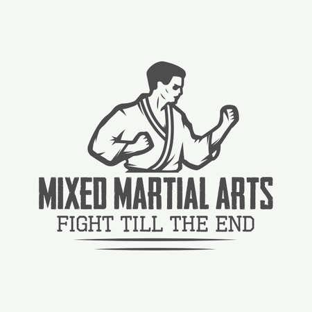 arts: Vintage karate or martial arts logo, emblem, badge, label and design elements. Vector illustration