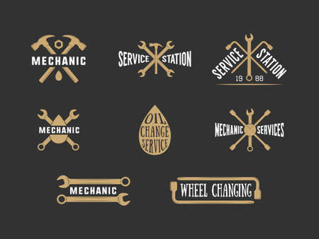 oil change: Vintage mechanic label, emblem and logo. Vector illustration
