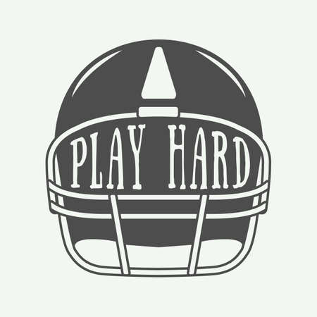 helm: Vintage American football or rugby helm with motivation slogan. Illustration