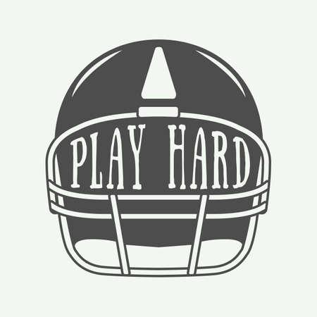 slogan: Vintage American football or rugby helm with motivation slogan. Illustration