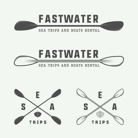 Conjunto de la vendimia de rafting logotipo, etiquetas e insignias. Ilustración vectorial