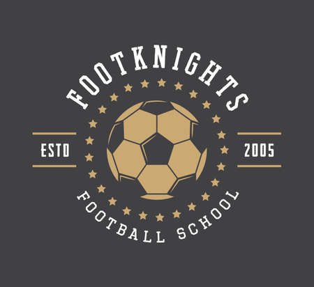 Vintage soccer or football logo, emblem, badge, label and watermark with ball in retro style. Vector illustration Vettoriali