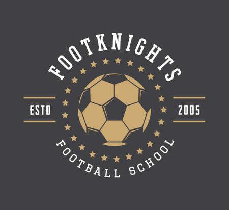 Fútbol de cosecha o el logotipo del fútbol, ??emblemas, insignias, etiquetas y marca de agua con la bola en estilo retro. ilustración vectorial Foto de archivo - 56642625