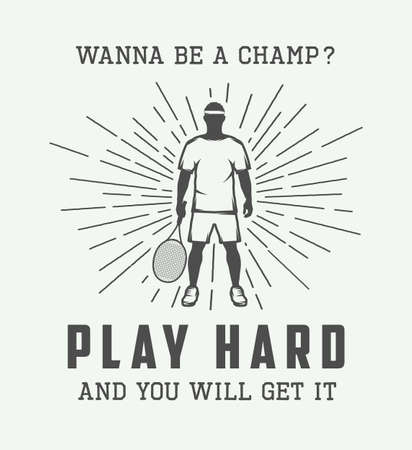 hard court: Vintage tennis or sport motivational poster with inspiration in retro style. Vector Illustration Illustration