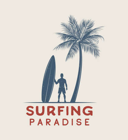 surfer vector: Vintage surfing logo, emblem, poster, label or print with surfer and surfing board in retro style. Graphic Design. Vector Illustration