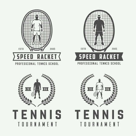 elite sport: Set of vintage tennis logos, emblems, badges, labels and design elements. Illustration