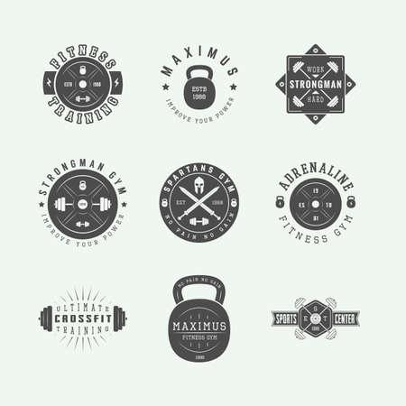 slogans: Set of gym logos, labels and slogans in vintage style. Vector illustration Illustration