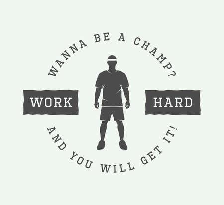 hard court: Vintage sport motivational design poster with inspiration in retro style. Vector Illustration