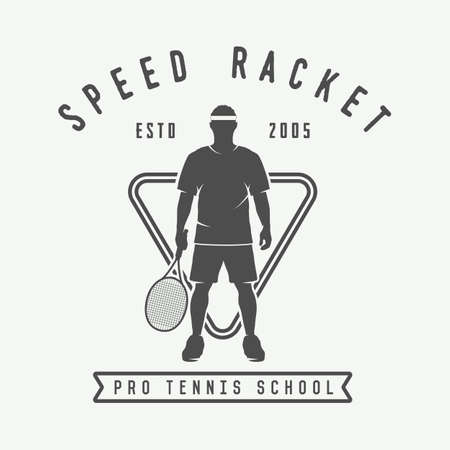 elite sport: Vintage tennis logo, badge, emblem. Vector Illustration