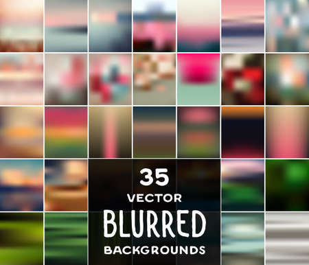 focus: Collection of 35 vector blurred backgrounds. Can be used in photo albums, website, banners, presentations, business cards, postcards, leaflets, flyers, flash and web backgrounds, textures, wallpapers.