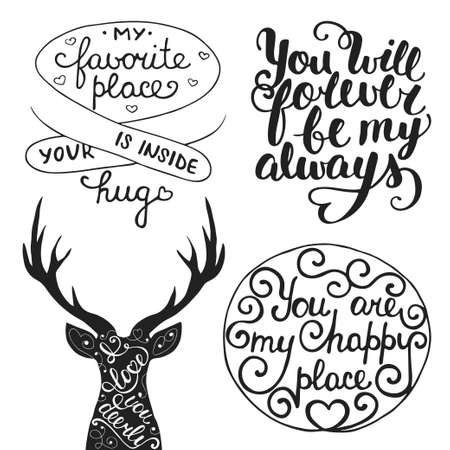 forever: Vector set of hand drawn unique typography design element for romantic greeting cards, decoration, prints and posters. Collection of love quotes. Handwritten lettering. Modern calligraphy.