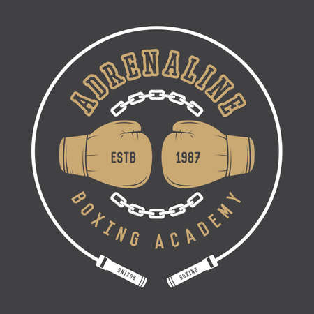 boxing equipment: Boxing and martial arts logo, badge or label in vintage style. Vector illustration