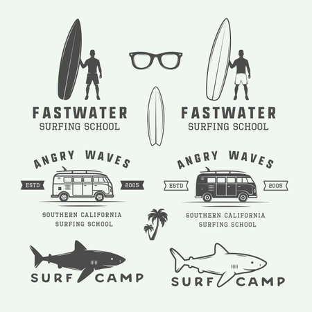 graphic art: Set of vintage retro surfing, summer and travel, emblems, badges, labels, marks, watermarks and design elements. Graphic Art. Vector Illustration.