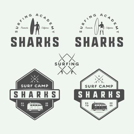 watermarks: Set of vintage retro surfing, summer and travel, emblems, badges, labels, marks, watermarks and design elements. Graphic Art. Vector Illustration.