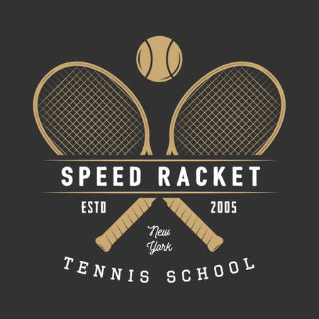 elite sport: Vintage tennis badge, emblem and much more. Graphic art. Vector Illustration. Illustration