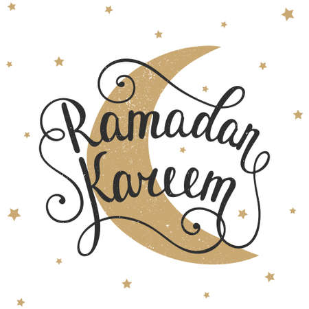 written: Ramadan Kareem greeting card design template with modern calligraphy, golden moon and small stars in vintage style. Handwritten lettering. Hand drawn vector design elements. Muslim holy month.