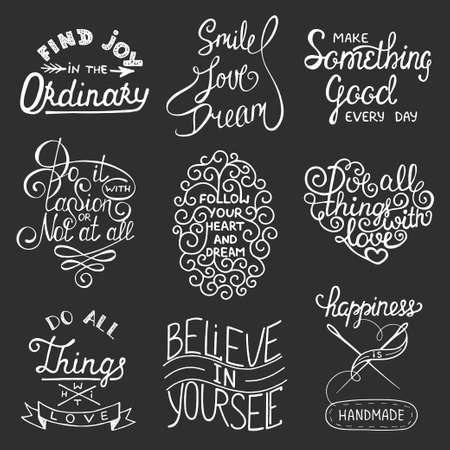 relationships: Set of vector inspirational typography slogans for greeting cards, prints and posters. Handwritten lettering. Hand drawn calligraphic design elements.