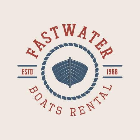 art logo: Vintage rafting or boat rental logo, labels and badges. Graphic Art. Vector Illustration.