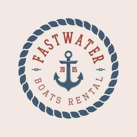 voyage: Vintage rafting or boat rental logo, labels and badges. Graphic Art. Vector Illustration.