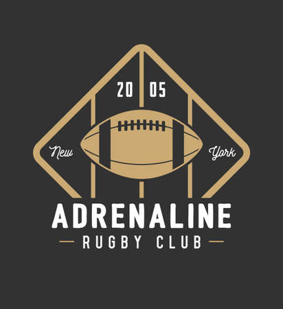 Vintage rugby and american football labels, emblems and logo. Vector illustration Illustration