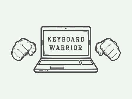 Vintage laptop logo, emblemat, znaczek lub etykiety z hasłem zabawy. Ilustracja wektorowa