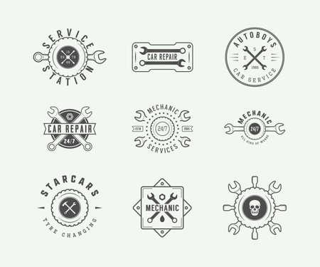 mechanic: Set of vintage mechanic label, emblem, badge and logo. Vector illustration. Graphic Art