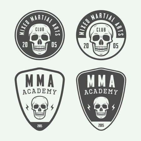 graphic arts: Set of vintage mixed martial arts or fighting club logos, emblems, badges, labels, marks and design elements. Retro graphic art. Vector Illustration. Graphic Art Illustration