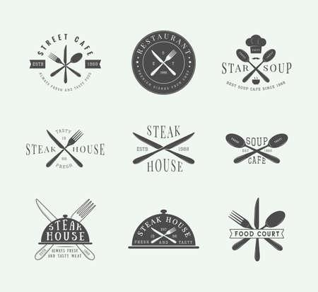 cuchillo: Conjunto de restaurante logo de la vendimia, insignia y emblema. Arte Grafico. Ilustración del vector.
