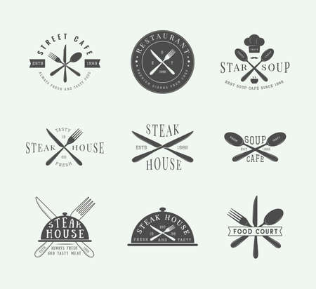 meat knife: Set of vintage restaurant logo, badge and emblem. Graphic Art. Vector Illustration.
