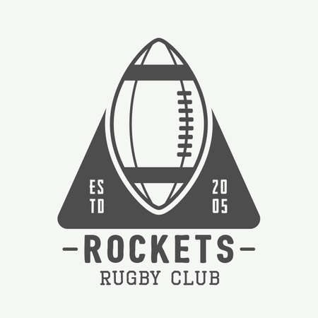 brave of sport: Vintage rugby and american football labels, emblems and logo. Vector illustration Illustration