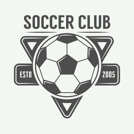 Vintage soccer or football logo, emblem, badge. Vector illustration Stock Illustratie