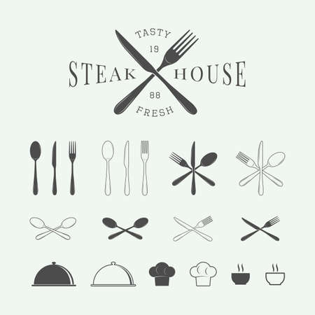 knife fork: Set of vintage restaurant logo, badge and emblem. Graphic Art. Vector Illustration.