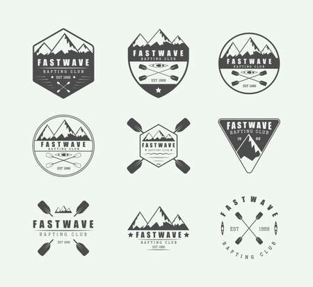 Set of vintage rafting logo, labels and badges. Vector illustration