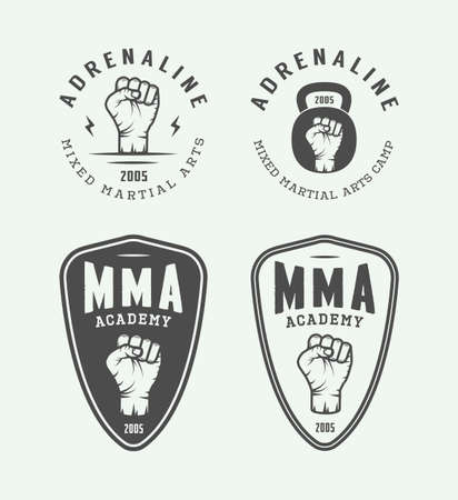 graphic arts: Set of vintage mixed martial arts or fighting club logos, emblems, badges, labels, marks and design elements. Retro graphic art. Vector Illustration.
