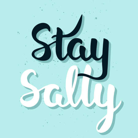 salty: Vector card with hand drawn unique typography design element for greeting cards, decoration, prints and posters. Stay salty, handwritten lettering. Modern ink brush calligraphy.