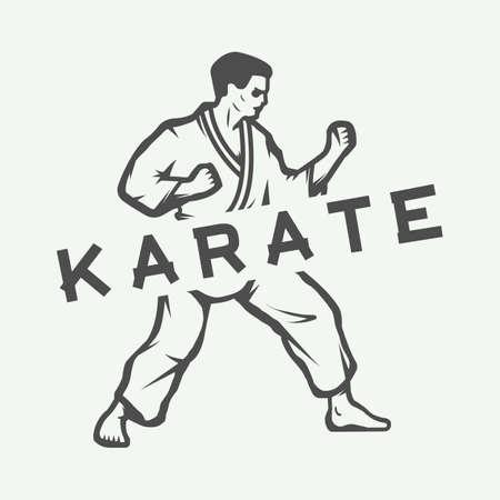 knockdown: Vintage karate or martial arts logo, emblem, badge, label and design elements. Graphic vector illustration. Illustration